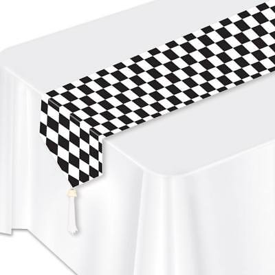 Black Checker Paper Table Runner Car Racing Birthday Party Decorations - Cars Birthday Decorations
