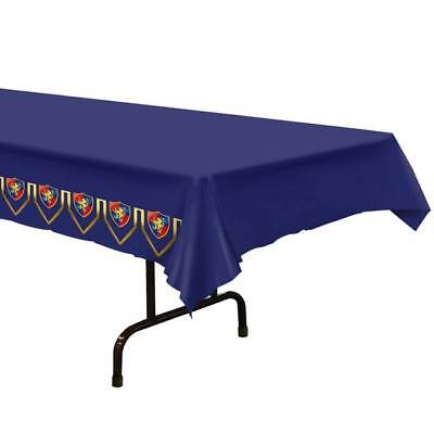 Medieval Plastic Banquet Tablecloth Red Blue Yellow Renaissance Party Decoration - Blue Plastic Tablecloth
