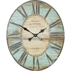 Wall Clock Wood Large Oval Distressed Vintage Style Turquoise Blue Black Gift