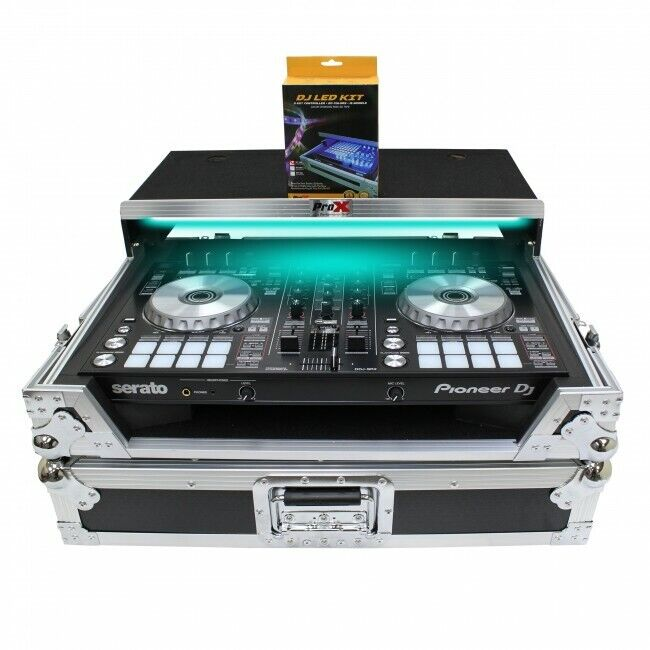 Pro X Pioneer DDJ-SR2 Digital Controller Flight Case W/Laptop Shelf W/LED Kit