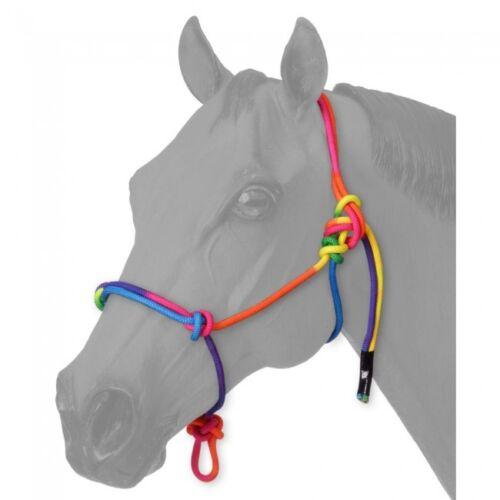 New! Tough-1 Adjustable MINI MINIATURE HORSE SIZE RAINBOW ROPE HALTER poly nylon