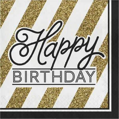 Black and Gold Happy Birthday Lunch Napkins Birthday Party Decorations - Black And Gold Napkins