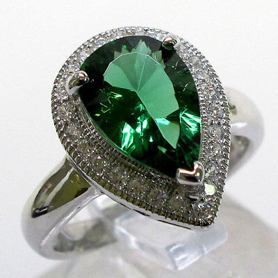 GORGEOUS 3 CT EMERALD PEAR SHAPE 925 STERLING SILVER RING SIZE - Emerald Shape Ring