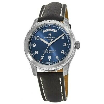 New Breitling Aviator 8 Automatic Day Date 41 Blue Mens Watch A45330101C1X1