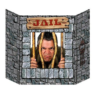 JAIL PRISONER PHOTO STAND IN CUTOUT WESTERN THEMED PROP PLACE HEAD IN HOLE - Western Theme Props