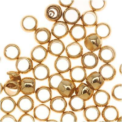 22K Gold Plated Crimp Beads 1.5mm X 2mm (100)