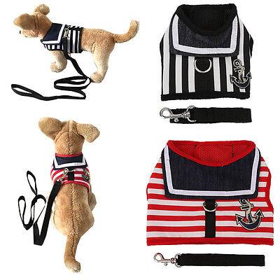 (Cool Stripe Sailor Pet Dog Cat Harness Vest and Leash Set Puppy Dog Cloth S/M/L)