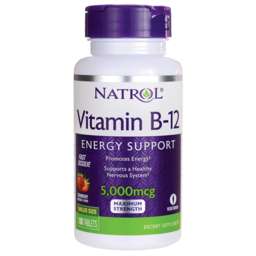 Natrol Vitamin B-12 Fast Dissolve - Strawberry 5,000 mcg 100 Tabs