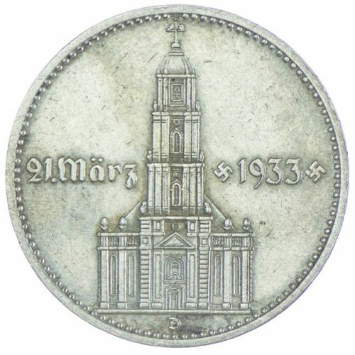 1- WW2 German 🇩🇪 5 Mark Silver Coin Potsdam Garrison Church Rare Commemorative