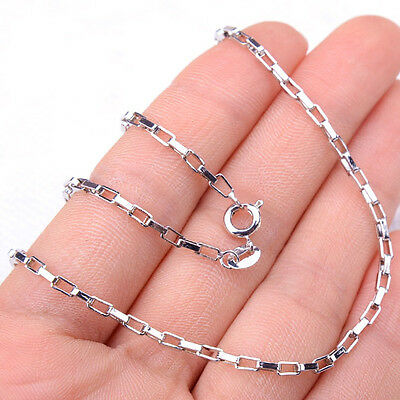Men&Womens 925 Sterling Silver Tarnish-Free 2mm Rectangular Necklace Chain H1297 ()
