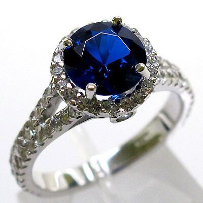 PRECIOUS 2 CT SAPPHIRE ROUND CUT 925 STERLING SILVER RING SIZE 5-10 Cut Precious Sapphire Ring