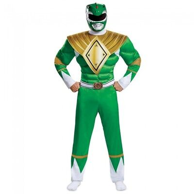 Disguise Power Rangers Mighty Morphin Grün Muskel Erwachsene Halloween Kostüm ()