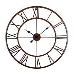 Utopia Alley Roman Round Wall Clock Distressed Finish Bronze 24″ Round