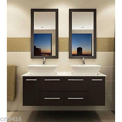 wall mount floating 60 inch Double Sink Bathroom Vanity Espresso 146