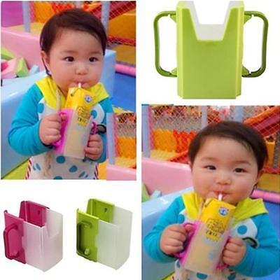 Adjustable Baby Kids Toddler Self-Help Drink Juice Milk Box Holder Cup -