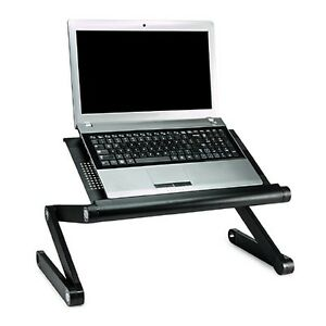 Mount-It Premium Adjustable Vented Table, Computer Desk, Portabl