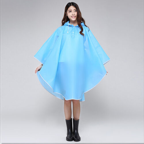 Women Girls Hooded Dot Raincoat Poncho Outdoor Waterproof Ra