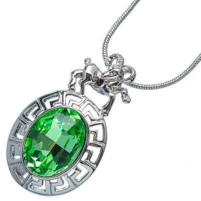 4.76 Ct Oval Cut Emerald 18K White Gold Plated 12 Chinese Zodiac Sheep Pendant Chinese Sheep Zodiac Pendant