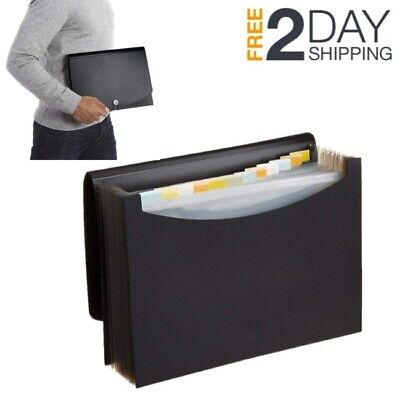 Expanding Accordion File Folder Document Organizer Pocket Case Holder Plastic