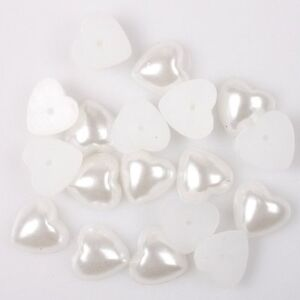 100x 110657 New Heart Cabochon Flatback Plastic Pearl Fit Jewelry Making 10mm