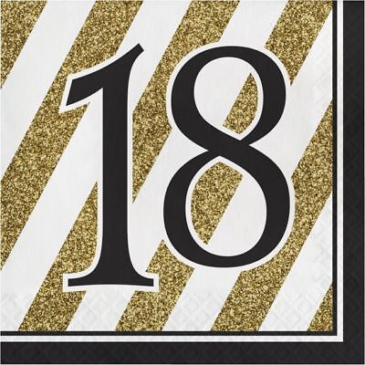 Black and Gold 18th Birthday Lunch Napkins 18th Birthday Party Decoration - Black And Gold Napkins