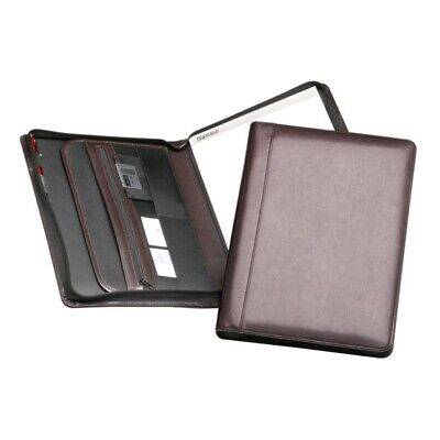 Samsill Regal Leather Zipper Padfolio Pad Holder Burgundy Letter Size 70734