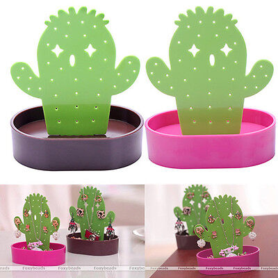 (Women Cute Green Cactus Earring Necklace Jewelry Display Stand Holder Organizer)