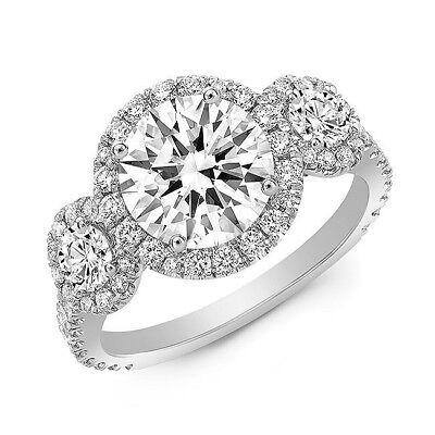 2.80 Ct. Three Stone Round Cut Halo Diamond Engagement Ring I, VS2 GIA 14kWG