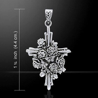 Brigid Ashwood Butterfly Rose Cross .925 Sterling Silver Pendant Peter Stone
