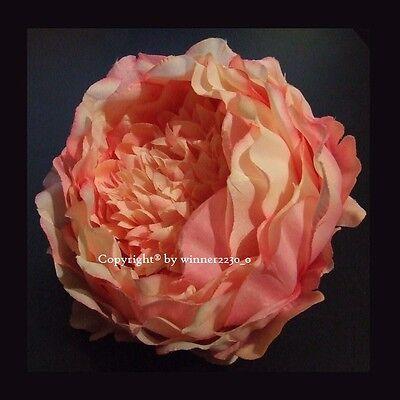 12 TOP Quality PEACH Artificial Silk Peony Rose Flower Head DIY Wedding Decor  ()