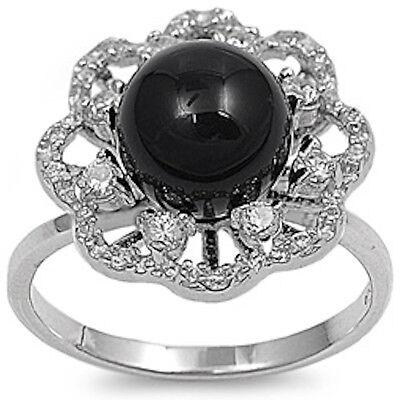 Black Onyx & CZ FLOWER Shaped  .925 Sterling Silver Ring Sizes 5-11 - Onyx Flower Shaped Ring