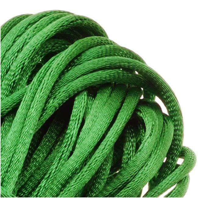 Rayon Satin Rattail 1mm Cord - Knot & Braid - Kelly Green (6 Yards)