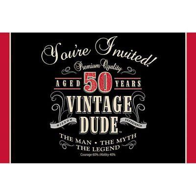 Vintage Dude 50th Birthday Gatefold Invitations Fifty The Man Myth Legend Decor (50th Birthday Invitations)