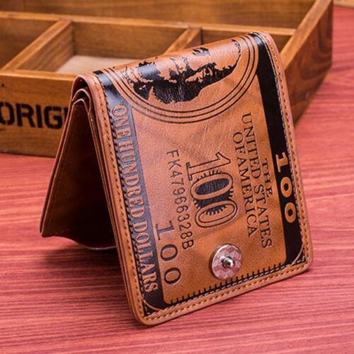 Men $100 Dollar Bill Wallet PU Leather Bifold Card Holder ID Pocket Purse N3