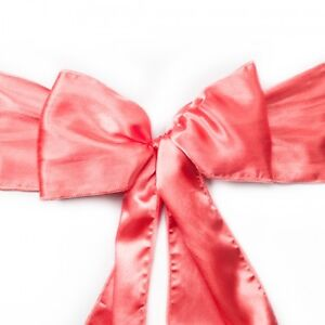 Wedding Decor - Coral Satin Chair Sashes