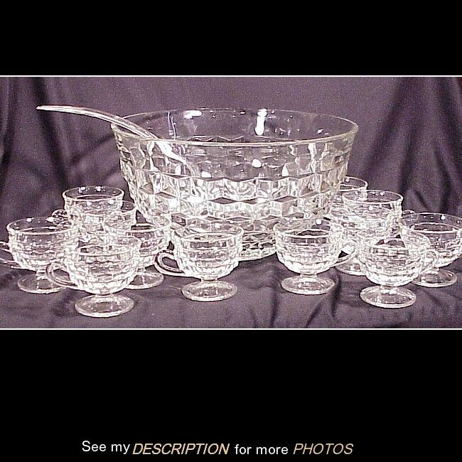 "14""Dia Indiana Glass Whitehall Punch Bowl & 12 Footed Punch Cups"