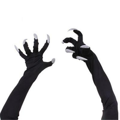 Troll Witch Monster Black Claws Hands Scary Adult Halloween Costume Gloves L