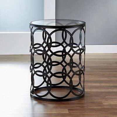 Round End Table Black Metal Side Accent Removable Glass Top Industrial Decor