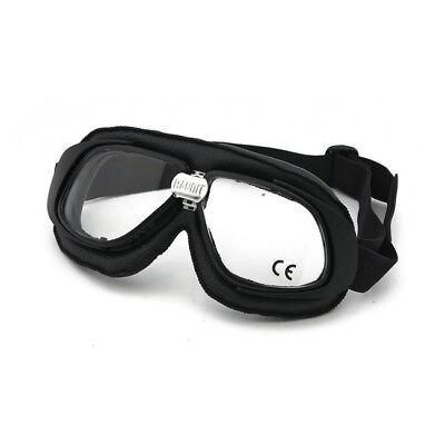 Bandit Classic Goggle, klare Linse, Motorradbrille, Leder, black, für Jethelme