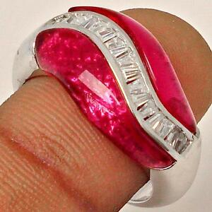 RUBY WITH WHITE TOPAZ BAGUETTES IN 925 SILVER RING size 8.5