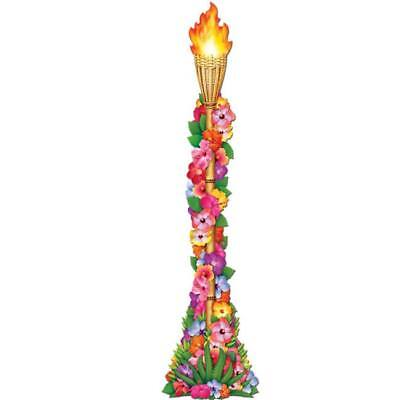Jointed Floral Tiki Torch Luau Party Paper Cutout