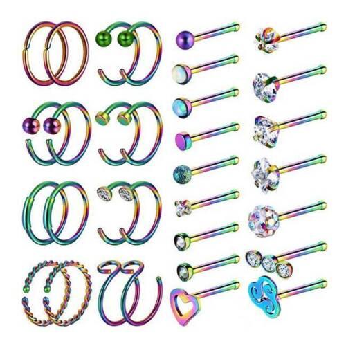 32pcs Nose Hoop Rings L Screw Bone Studs Surgical Steel Pier
