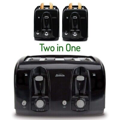 Extra Large 4 Bread Slice Toaster Oven Black Four Wide Slot Kitchen Bagels Tost ()