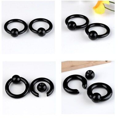 Black Eyebrow Ring - Pick Gauge Pair Acrylic Captive Bead Ring Nose/Eyebrow/Lip/Nipple/Tragus Earring