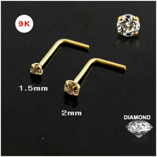 1x 22g 9K L-Shape Solid Gold Genuine Round 2MM Diamond Nose Stud Ring 9KND003-2M