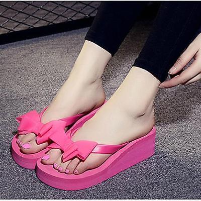 Women Casual Bow Wedge Heel Sandal Slipper Flip Flop Summer Beach Platform LA Platform Wedge Flip Flop