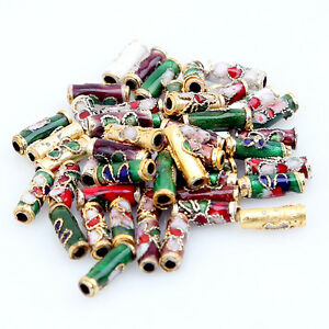 50pcs-Multicolour-Cloisonne-Flower-Tube-Beads-110764