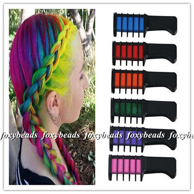 6pcs/Set Rosenice Hair Chalk Comb Shimmer Party Temporary Hair Style Color
