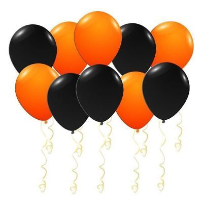 50 latex balloons orange and black for Halloween helium or air 12