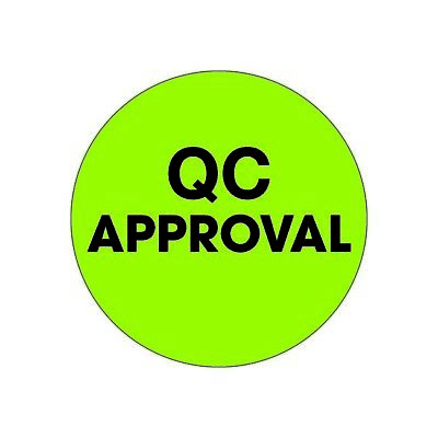 Thorntons Labels Qc Approval 2 Circle Fluorescent Green 500roll